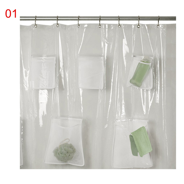 Clear Shower Curtain PVC Translucent With Pockets Waterproof Bathroom For IPad Tablet Phone Holder TB Sale