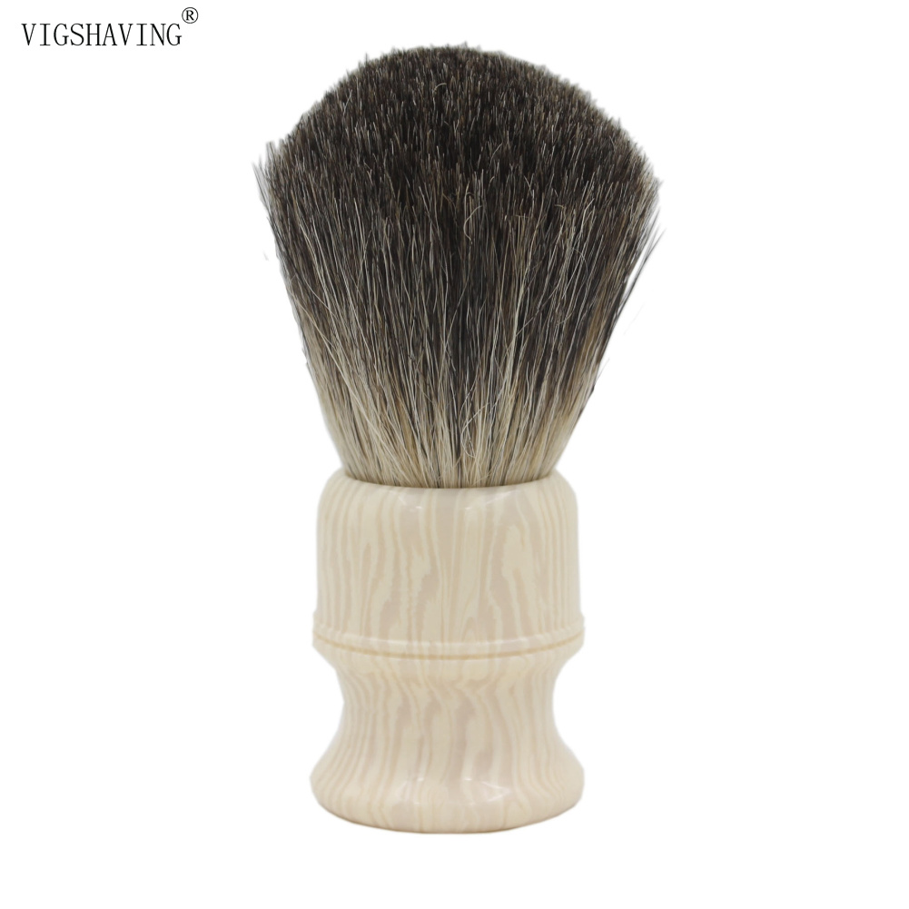 VIGSHAVING Faux Ivory Resin Handle Grey Pure Badger Hair Shaving Brush