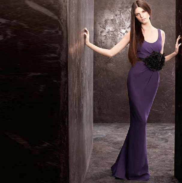 free shipping robe de soiree party 2018 new hot sexy fashion purple long chiffon vestido de festa elegant   bridesmaid     Dress