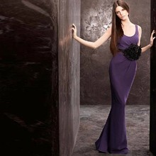 free shipping robe de soiree dress party 2014 new hot sexy fashion purple long chiffon vestido festa elegant Evening Dress