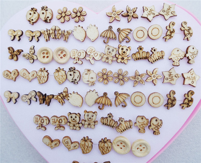 36pairs Lot Heart Box Mix Styles Randomly Children S Fashion Plants Animals Wooden Stud Earrings
