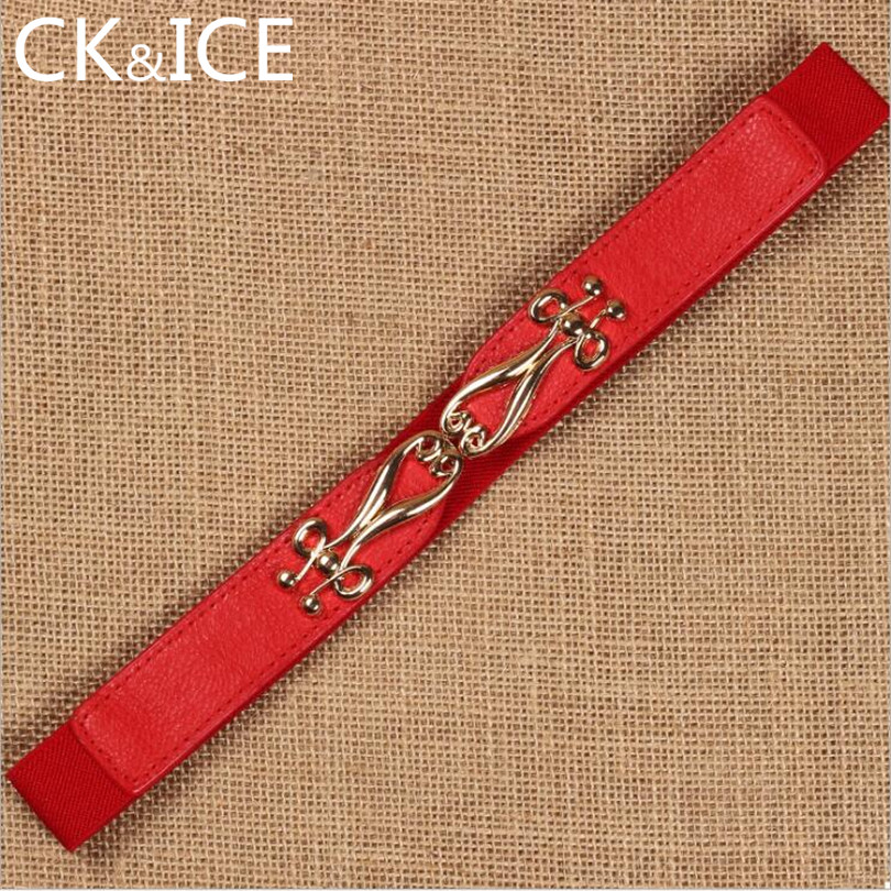 CK&ICE Faux Leather Elastic Band Little Belts Female Pearl Flower Pattern Decoration Slim Thin Casual Ceinture Femme Women Belt