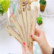 15cm Long Cartoon Wooden Pendant Straight Ruler Bookmark Drawing Template Tool For Kid Gift Office School Supply 7.132