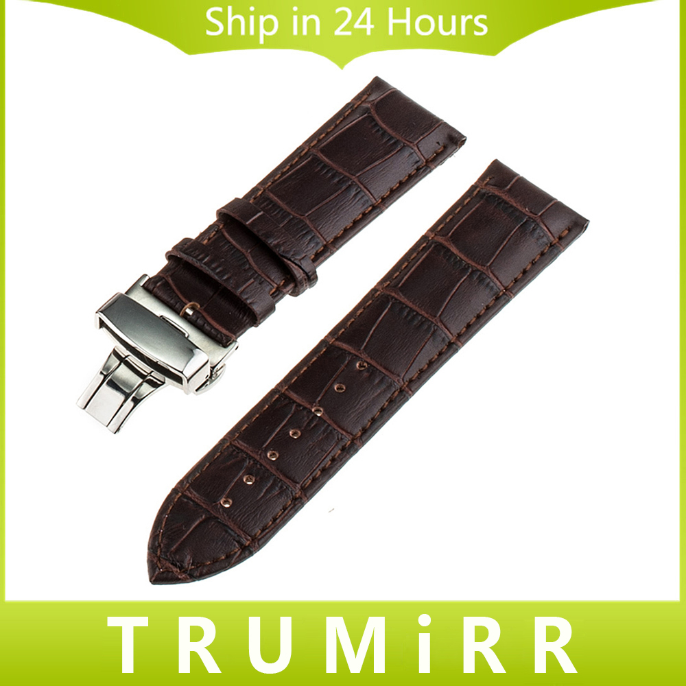 16mm 18mm 20mm 22mm Butterfly Buckle Watch Band for Timex Weekender Expedition Classic Men Women Genuine Leather Bracelet Strap timex часы timex tw4b03500 коллекция expedition
