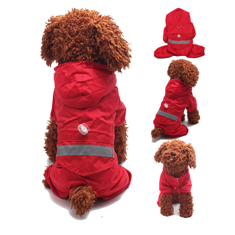 Pet Dog Raincoats Hood Reflective Puppy Cat Raincoat Vattentät Jacka - Produkter för djur