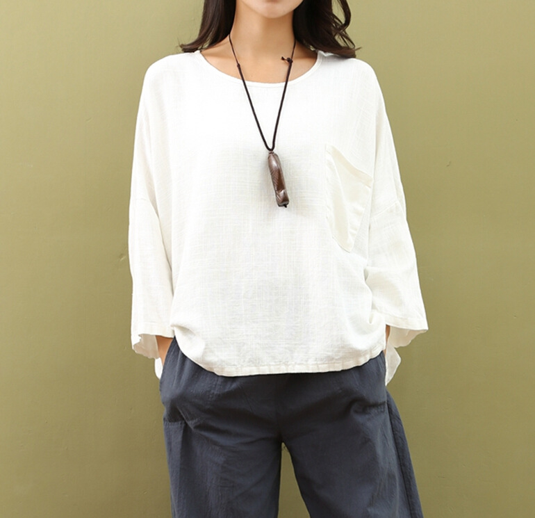 Femmes chemises lâche manches chauve-souris Vintage 2018 automne été mode coton lin hauts femmes blanc grande taille O cou lâche Blouse - 4