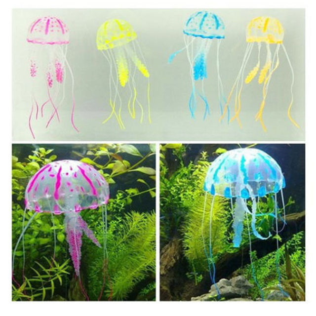 5.5CM Glowing Effect Artificial Jellyfish Fish - Tank Aquarium Decorations  5