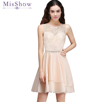 Cheap Short Prom Dresses Vestido A line Sleeveless Pink Ivory Lace Tulle Banquet Party formal Party Evening Gown
