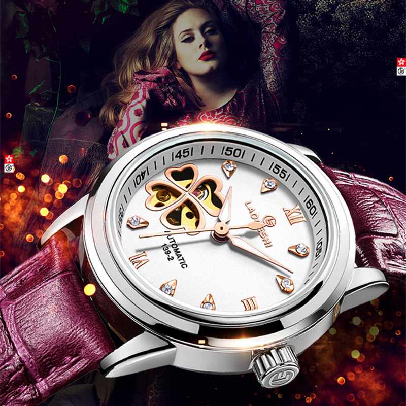 montres femmes Automatic sapphire Watch women Skeleton Mechanical Leather Clock fashion business female waterproof women Watch