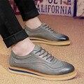 Otoño de La Nueva Manera Bajo Zapatos Casuales Para Hombre Zapatos de Cuero Planos de Los Hombres Estilo Británico de Encaje Hasta Zapatos Hombre Transpirable