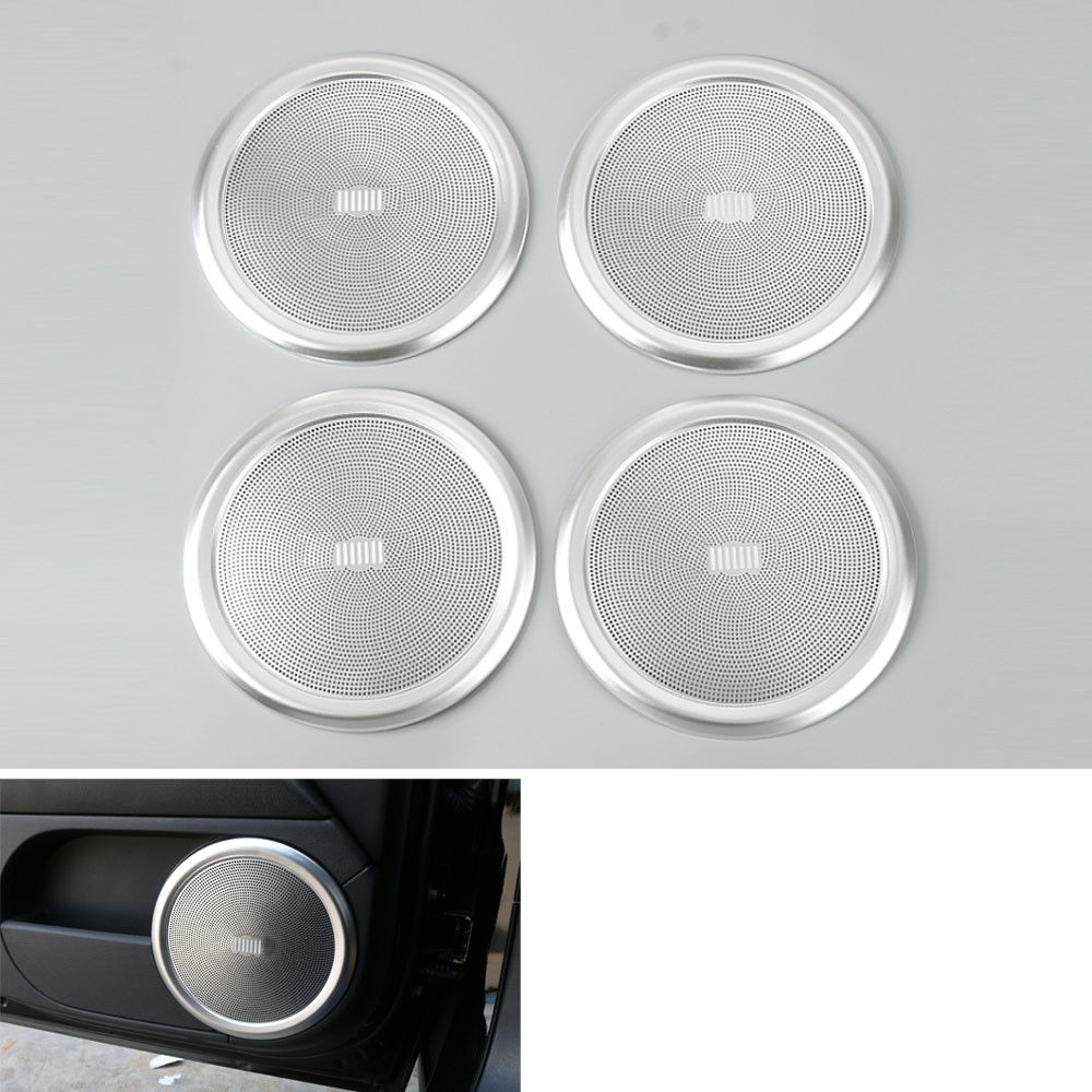 ФОТО 1pcs Aluminum Car-styling Inner Door Side Speaker Sound Cover Trim Sticker for Jeep Compass Patriot 2011-2016 Car speaker sound