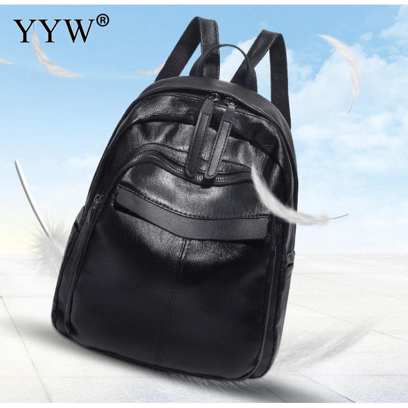 Laptop Backpacks Mochila Schoolbag Black-Color Designer Women's Fashion Casual Young-Girl