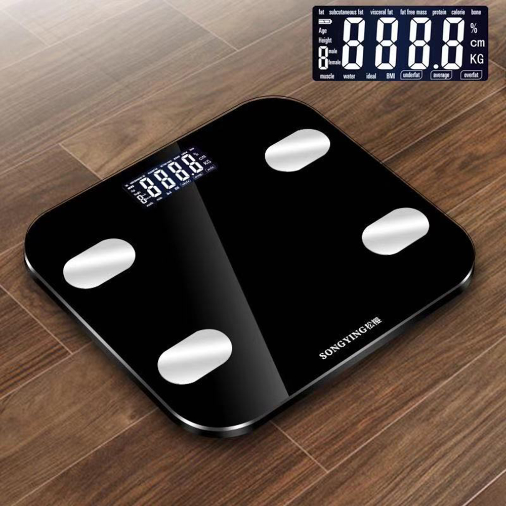 Body Index Smart Weighing Scales Digital LCD BMI Calorie Muscle Body Bathroom Weighing Scale 0.2-150KG Toiletry Kits