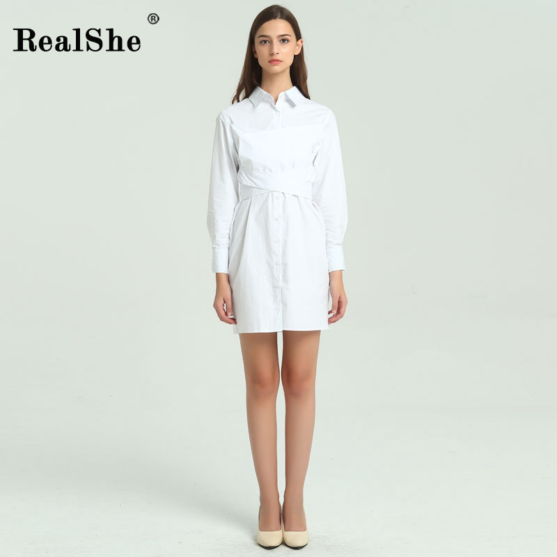 RealShe Autumn Lapel Women Dress Elegant Women Bow Back Long Sleeve White Shirt Short Dresses 2017