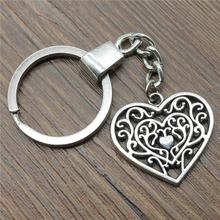 30x27mm Hollow Carving Heart Keychain Antique Silver Vintage Handmade Party Gift Jewelry Dropshipping