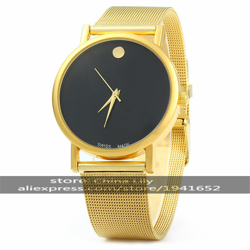 2016 WOMAGE Unisex Fashionable Large Round Dial Analog Wrist Watch with Faux Leather Band 108G chic womage a380 cross shaped dial round golden case leather wrist watch for men red