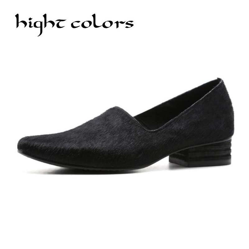 цены New Style Women's Pointed Toe Pumps Spring Autumn Horsehai Shallow Slip On Women Low Heel Pumps  Lady Casual Single Shoes