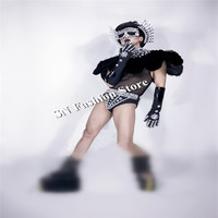 CC42 Black color dj hats glasses diamond feather cloak men stage show wears sexy clothes party cosplay models performance dress