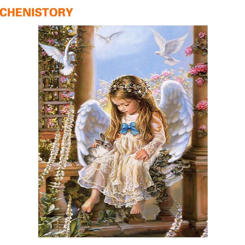 ②Chenistory Ángel conejo pintura DIY por números regalo para ...