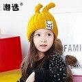 Дети 1-4 лет ребенок кашемир шерсть шляпа с двойной теплый кроличьи уши ребенка девушка моды прекрасные Зима Вязанная шапочка cap