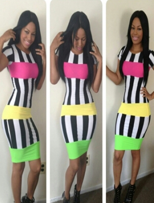 2015 New Casual Summer Dress Colorful Womens Striped Bodycon Bandage Dress Sexy Knee-Length Club Dress M3658