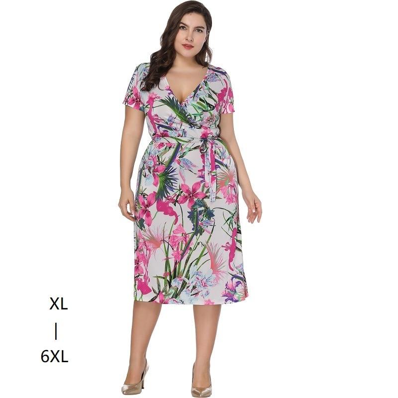 Grande taille robes pour femmes 4xl 5xl 6xl décontracté femmes d'été tunique à manches courtes taille haute imprimé wrap robe Robe Midi