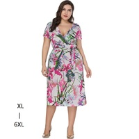 Plus size dresses for women 4xl 5xl 6xl Casual women summer short sleeve tunic high waist printed wrap dress Vestido Midi