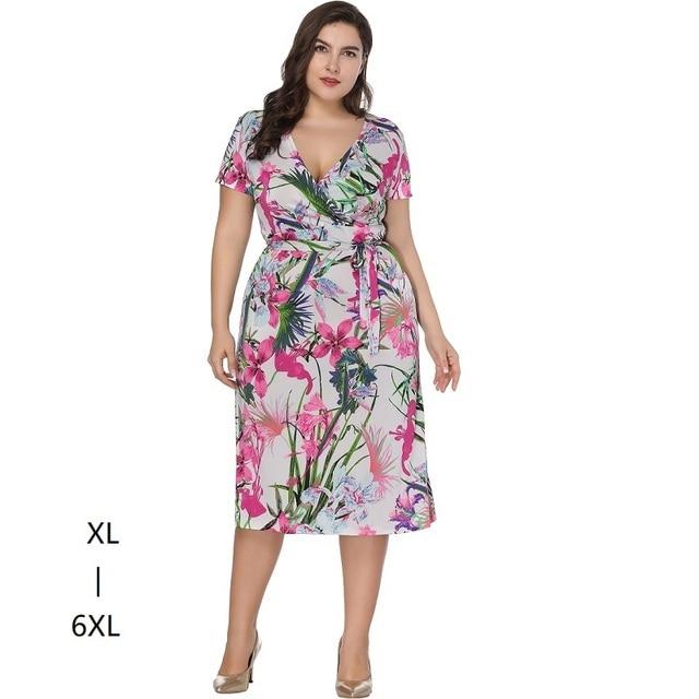 6c73db27d vestidos tallas grandes mujer 5xl 6xl casual mujeres de verano de manga  corta túnica alta cintura impreso vestido MIDI ropa mujer talla grande WRAP  vestidos ...