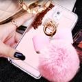 Меховой Шарик Бантом Мягкие TPU Зеркало Чехлы для Samsung J3 J5 J7 2016 A5 A7 A8 Примечание 3 4 5 7 S4 S5 S7 S6 Edge Plus Телефон охватывает