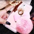 Bola de pêlo bowknot macio tpu casos espelho para samsung j3 j5 j7 2016 a5 nota 3 4 5 7 s4 s5 s7 a7 a8 s6 edge plus telefone cobre