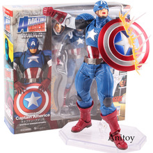 Série N ° 007 Capitão América vingadores Revoltech Figura Avengers Assemble Figura Da Boneca PVC Action Figure Collectible Modelo Toy