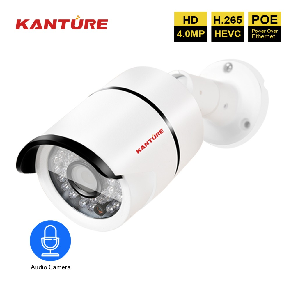 H 265 48V 4MP Network Camera Video security waterproof Audio Record Sound POE IP camera Surveillance