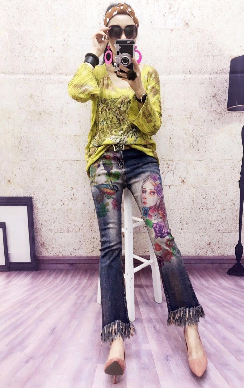 Mujer A293 Streetwear Borlas 2017 Impresión Stretch Invierno Jeans Hermosa De 8003 La Denim Anchos Casual Pierna Pantalones Inferior axtqqA