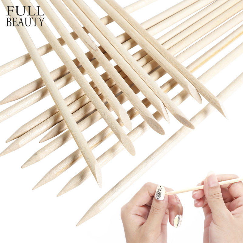 Full Beauty 3 Size Orange Wood Stick Remover Cuticle Pusher Manicure Pedicure Nail Art Designs Picker Tools 10/30/50/100 CH709