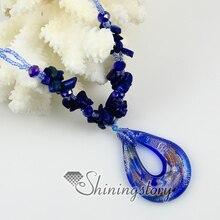 teardrop glitter foil murano lampwork glass venetian necklaces pendants colored cheap fashion jewellery handmade fashion jewelry