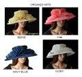 Nueva Llegada de Organza de ALA ANCHA Sombreros Sombrero de La Iglesia de derby Kentuck, boda, fiesta, carreras, 4 colores, 5 unids/lot. FREE.