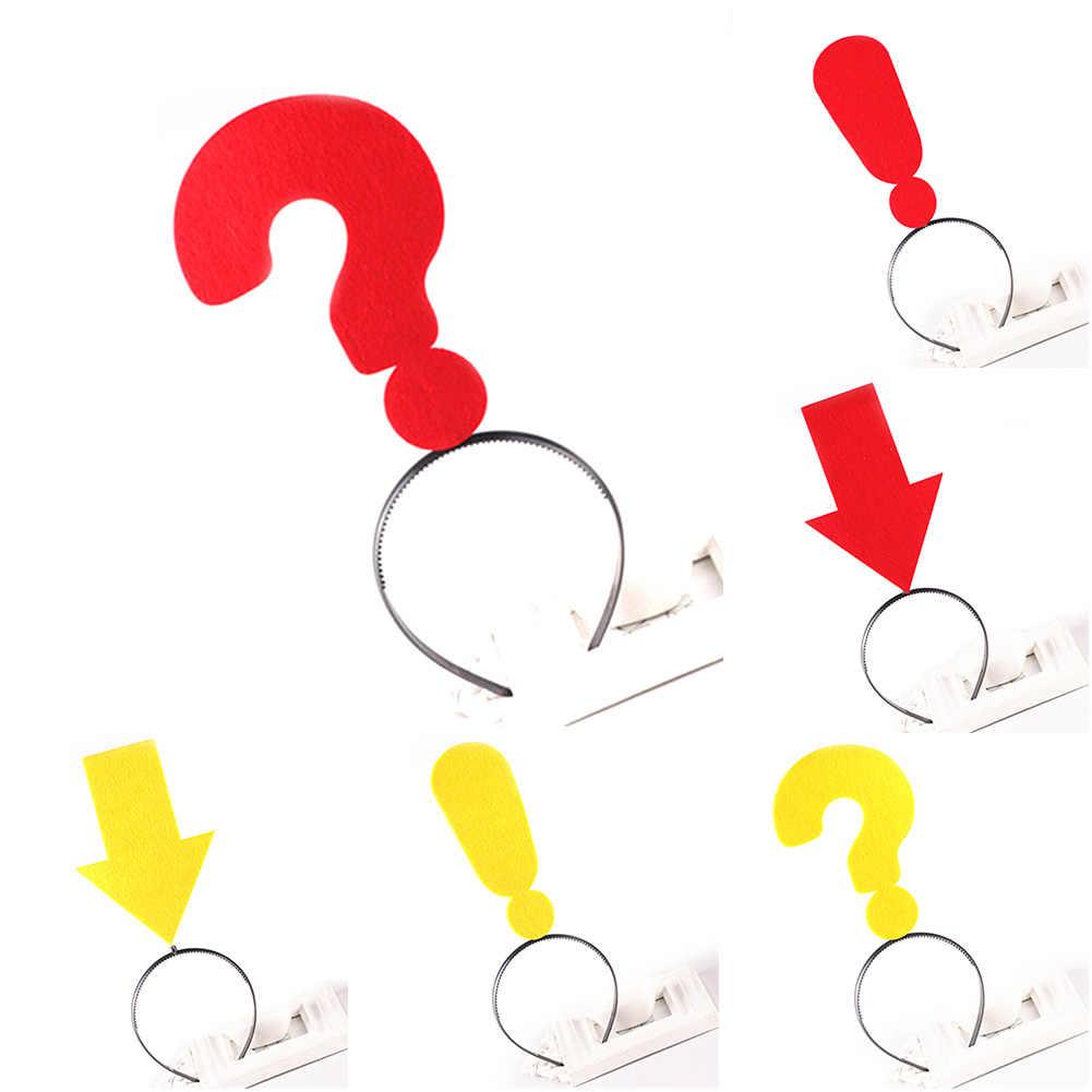新黄赤句読点ヘアバンド質問感嘆マーク矢印大人パーティードレス装飾