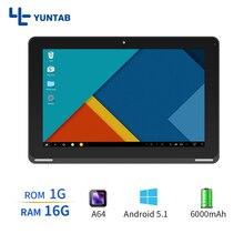 Yuntab Android5.1 B102 Tablet PC Quad Core de la Pantalla Táctil 10.1 inch 800*1280 IPS de Doble Cámara de La Ayuda SD/MMC/Tf 6000 mAh de la batería