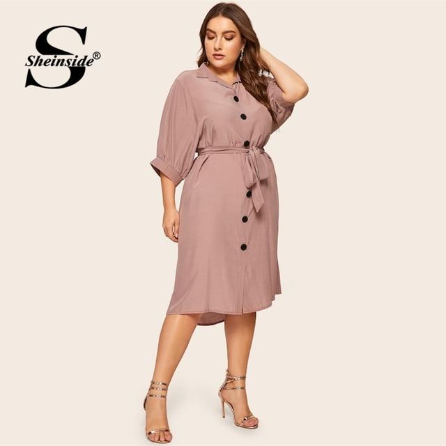 Sheinside Plus Size Casual Button Detail Shirt Dress Women 2019 Spring Half Sleeve Straight Dresses Ladies Solid Midi Dress 4
