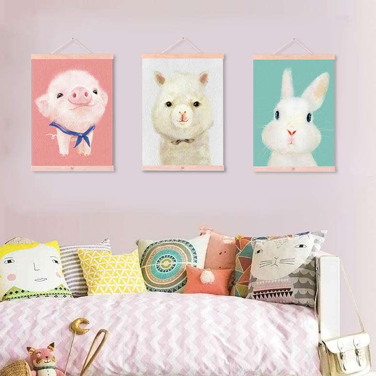 Us 7 98 47 Off Modern Cute Animals Penguin Bear Wooden Framed Canvas Paintings Kids Room Kawaii Home Decor Wall Art Print Picture Poster Scroll In