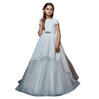 fancy little girls white long dresses fantasia infantil para menina vestido menina princess first communion dresses for girls
