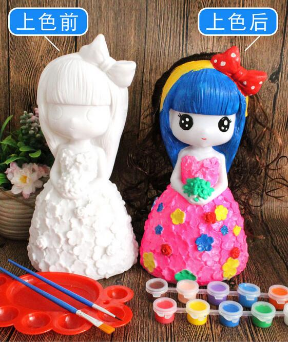 21cm red princess lovely Children pet mannequin toy plaster doll Piggy bank mannequin Gift 12 color paint pen palette 1set A262 in Mannequins from Home Garden