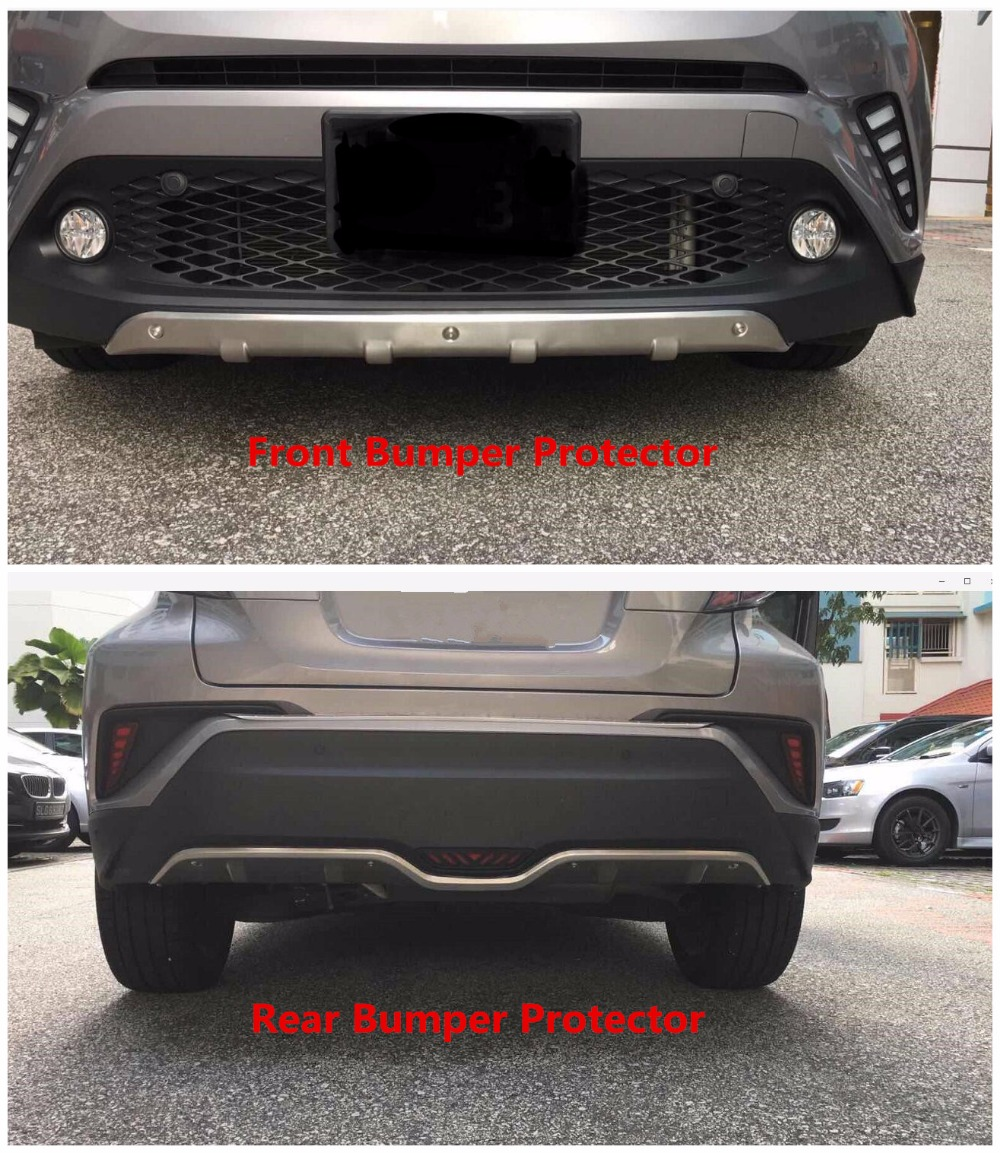 цена на 2016 2017 2018 For Toyota C-HR CHR Front&Rear Bumper Protector Guard Cover Molding Stainless Steel 2pcs car styling accessories