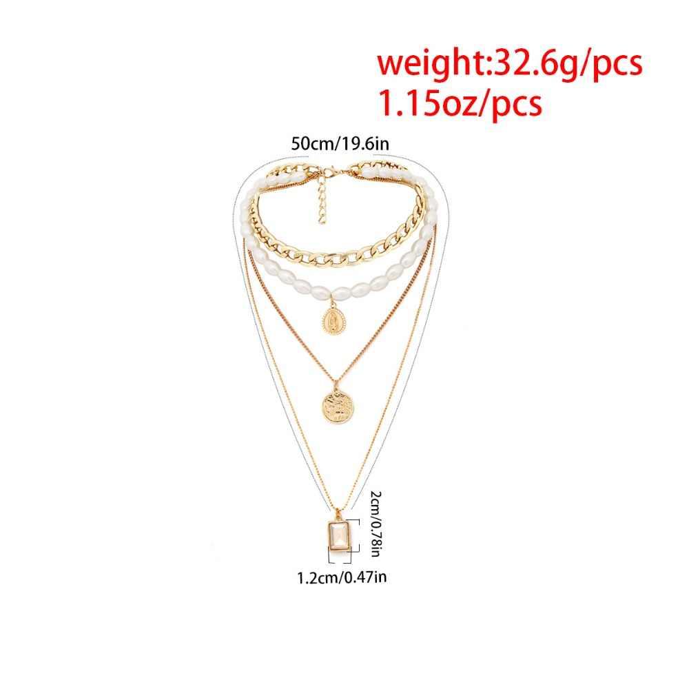 Kmvexo 2019 nova moda ouro cor multicamadas correntes pérola colares de cristal geométrico pingentes colares para mulher bijoux