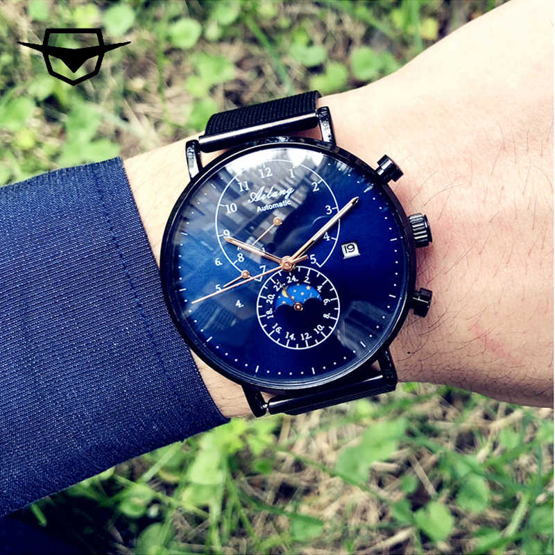 92428ec10711 AILANG Brand Men s Mechanical Watch Quality Automatic Minimalist Waterproof  Stainless Steel Diesel Watch Diver Simple Style
