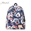 2016 designer vintage bonito flor impressão mulheres mochila canvas escola bolsa para laptop Ocasional menina de alta qualidade azul adolescente do sexo feminino