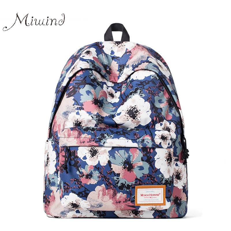 2017 Cute Vintage Designer Flower Printing Women Canvas Backpack School Laptop Bag Casual Girl High Quality Blue Female Teenager 2016 hot sale fashion canvas cute mustache school book bag vintage women backpack casual women backpack