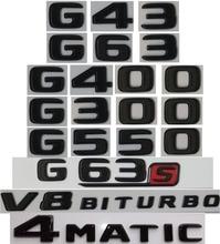 Flat Gloss Glossy Black Trunk Letters Emblem Emblems Badge for Mercedes Benz G43 G63 G500 4MATIC AMG G550 V8 BITURBO 17-19