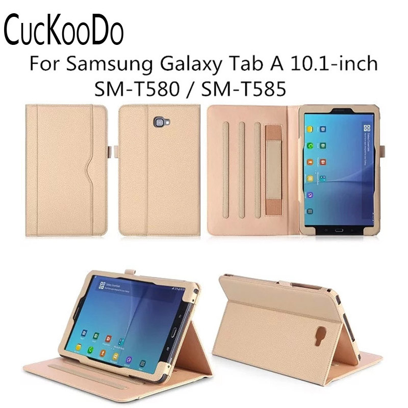 Stand Folio Case Cover for Galaxy Tab A 10.1 Inch Tablet SM-T580, with Multiple Viewing Angles, Document Card Pocket for asus zenpad s 8 0 z580c case multiple viewing angles ultra compact slim card holder hand strap stand case cover