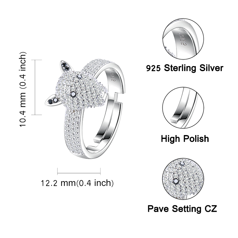 Strollgirl New 925 sterling silver Luxury Dog head Dazzling open size ring with Clear cubic zirconia for women free shipping